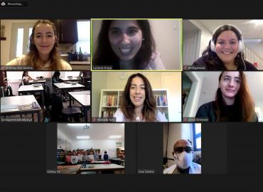 A screenshot of a virtual meeting with 8 participants